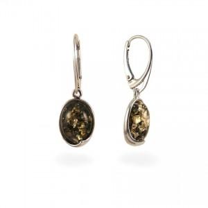 Srebrne Kolczyki z bursztynem zielonym | srebro 925 | Wysokość - 33mm, Szerokość - 11mm | Waga - 3,6g | ZD.1007G