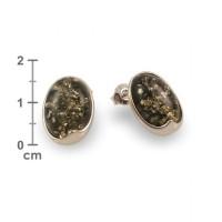 Kolczyki z bursztynem zielonym | srebro 925 | Wysokość - 15mm, Szerokość - 11mm | Waga - 2,6g | ZD.1007S