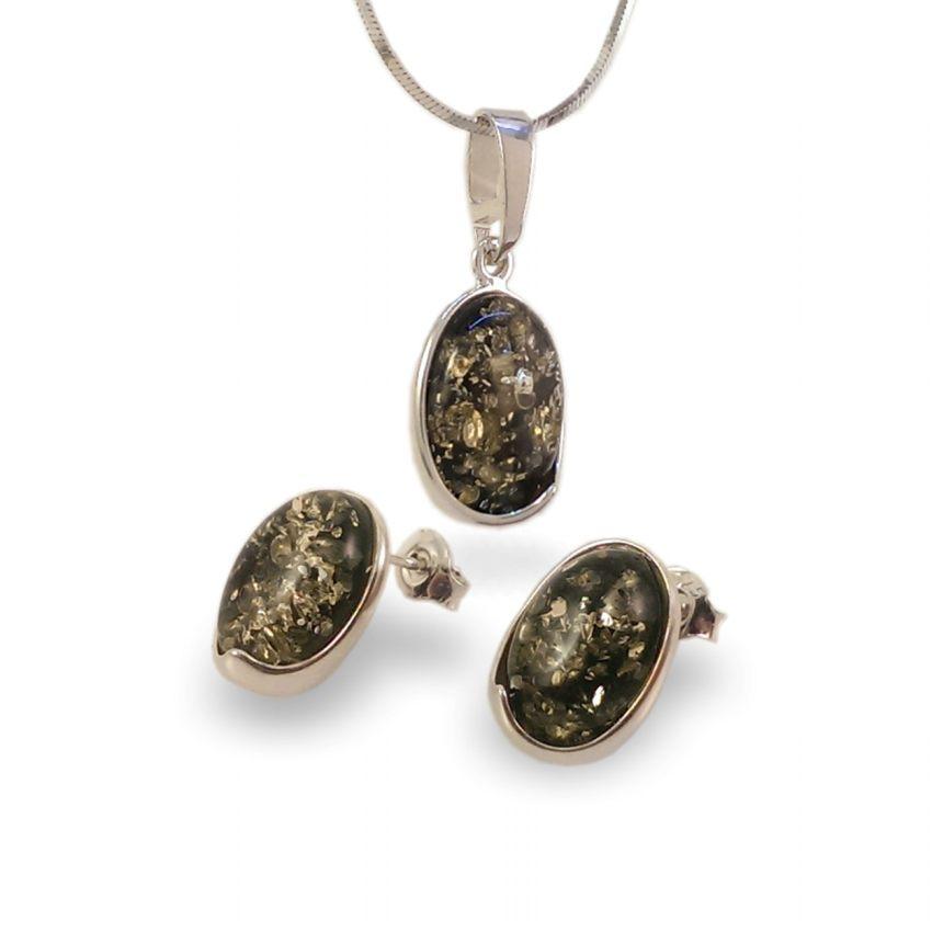 Wisiorek z bursztynem zielonym | srebro 925 | Wysokość - 25mm, Szerokość - 11mm | Waga - 1,5g | ZD.1007G
