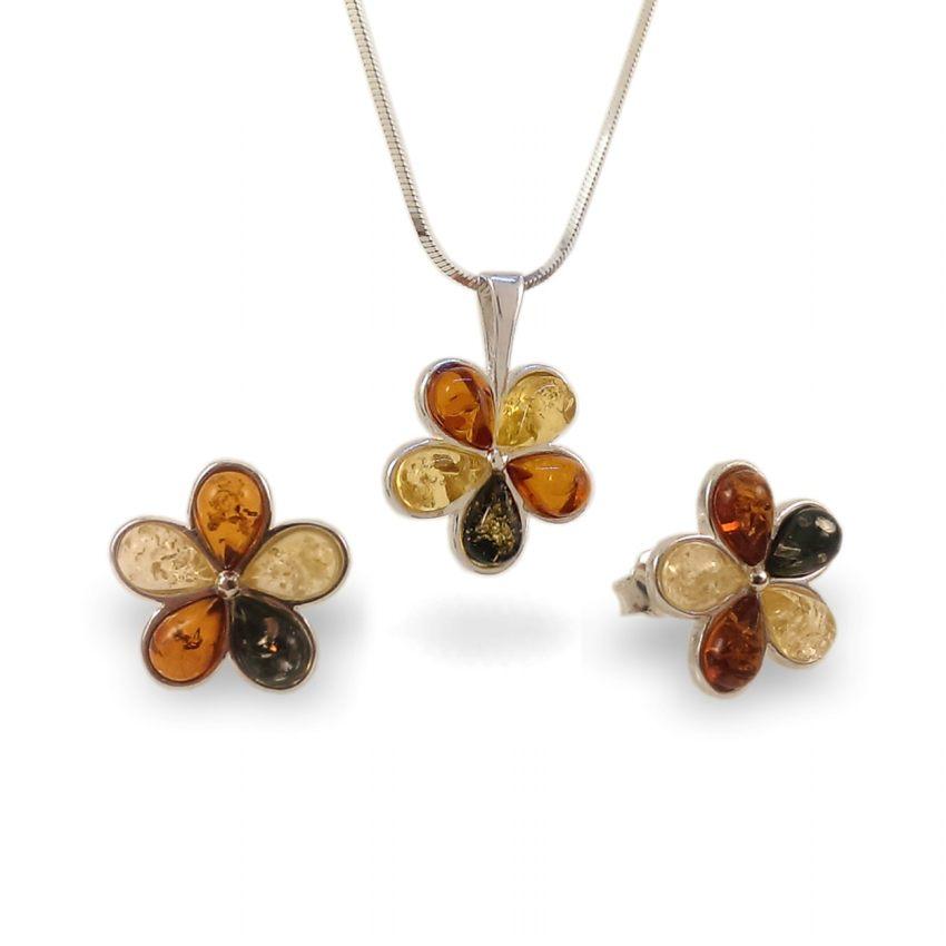 Kwiatek Srebrne Kolczyki z bursztynem | srebro 925 | Wysokość - 15mm, Szerokość - 15mm | Waga - 2,5g | ZD.1108S