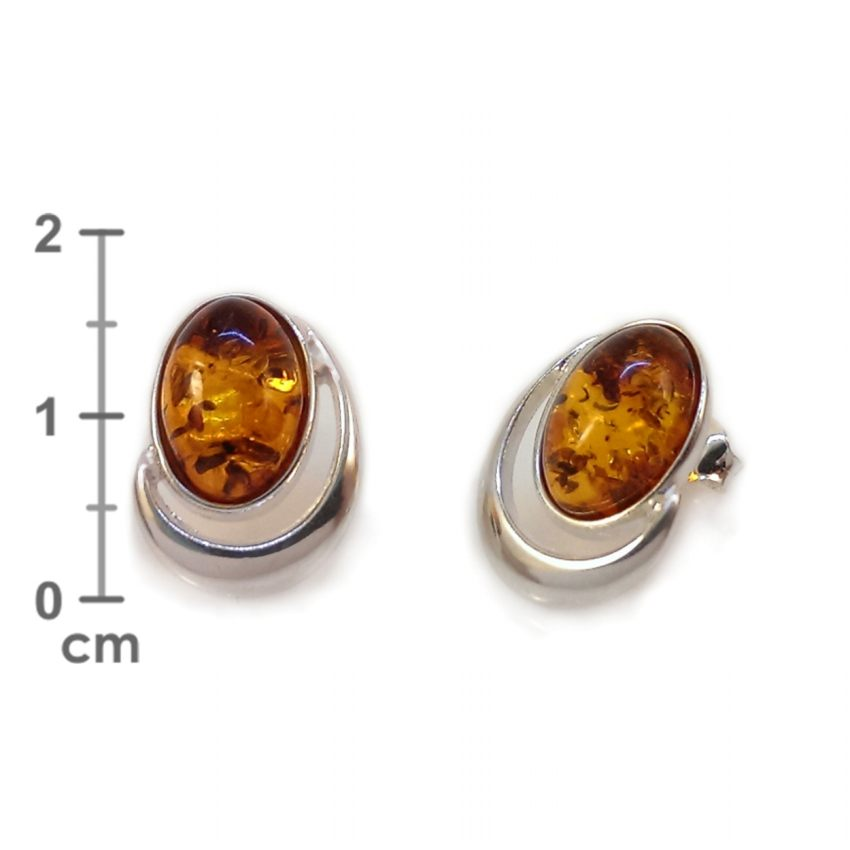 Kolczyki z bursztynem | srebro 925 | Wysokość - 17mm, Szerokość - 13mm | Waga - 3,3g | ZD.1025S