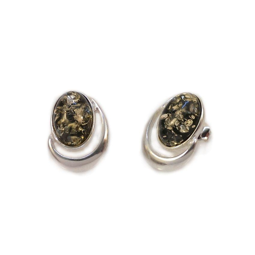 Kolczyki z bursztynem zielonym | srebro 925 | Wysokość - 17mm, Szerokość - 13mm | Waga - 3,3g | ZD.1025S