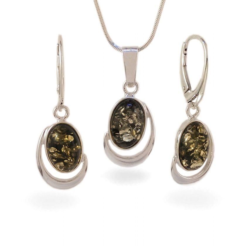 Wisiorek z bursztynem zielonym | srebro 925 | Wysokość - 28mm, Szerokość - 13mm | Waga - 2,1g | ZD.1017G