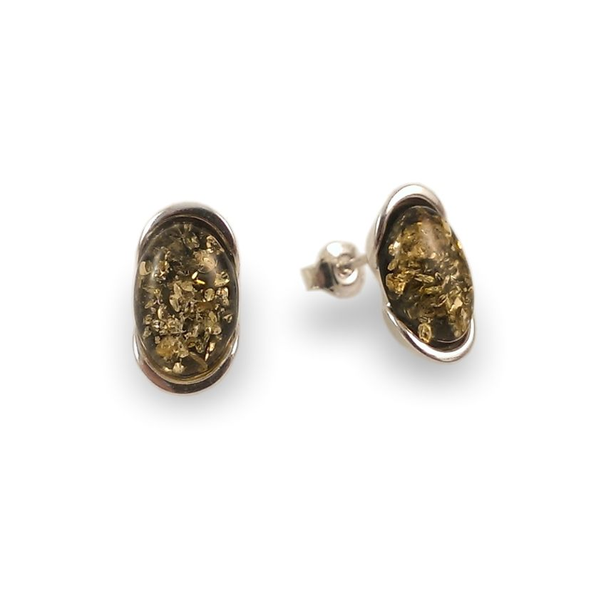Kolczyki z bursztynem zielonym | srebro 925 | Wysokość - 14mm, Szerokość - 8mm | Waga - 2,7g | ZD.1034G