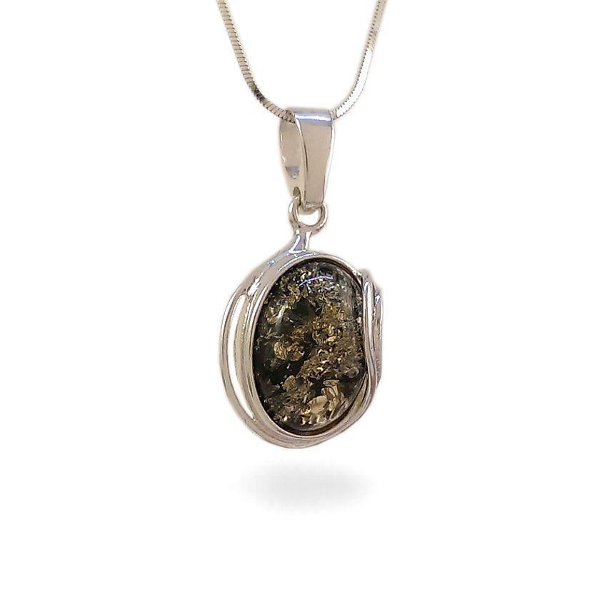 Wisiorek z bursztynem zielonym | srebro 925 | Wysokość - 31mm, Szerokość - 16mm | Waga - 2,7g | ZD.962G