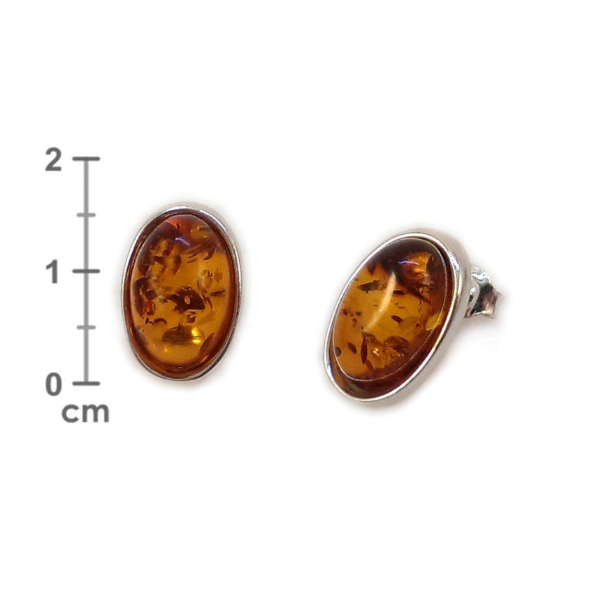 Kolczyki z bursztynem | srebro 925 | Wysokość - 16mm, Szerokość - 10mm | Waga - 2,7g | ZD.1070
