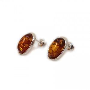 Srebrne Kolczyki na sztyft z bursztynem | srebro 925 | Wysokość - 16mm, Szerokość - 10mm | Waga - 2,7g | ZD.1070