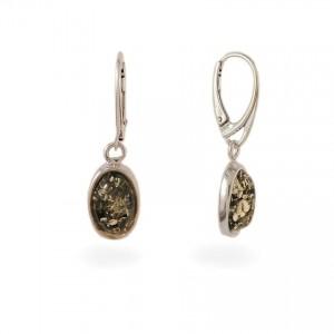 Srebrne Kolczyki z bursztynem zielonym | srebro 925 | Wysokość - 35mm, Szerokość - 10mm | Waga - 4g | ZD.1070G