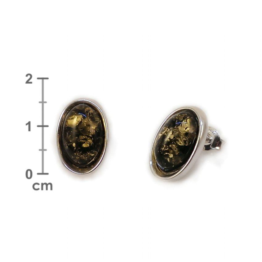 Kolczyki z bursztynem zielonym | srebro 925 | Wysokość - 16mm, Szerokość - 10mm | Waga - 2,7g | ZD.1070G