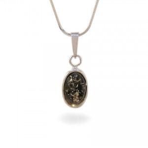 Wisiorek z bursztynem zielonym | srebro 925 | Wysokość - 26mm, Szerokość - 10mm | Waga - 1,5g | ZD.1070