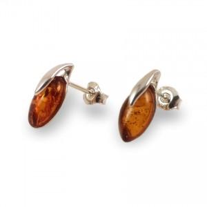 Kolczyki z bursztynem | srebro 925 | Wysokość - 15mm, Szerokość - 6mm | Waga - 1,5g | ZD.1093