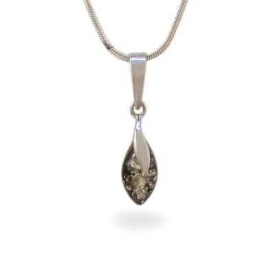 Wisiorek z bursztynem zielonym | srebro 925 | Wysokość - 25mm, Szerokość - 6mm | Waga - 0,9g | ZD.1093G