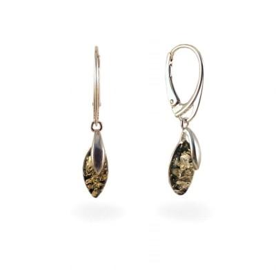 Kolczyki z bursztynem zielonym | srebro 925 | Wysokość - 35mm, Szerokość - 6mm | Waga - 2,6g | ZD.1099G