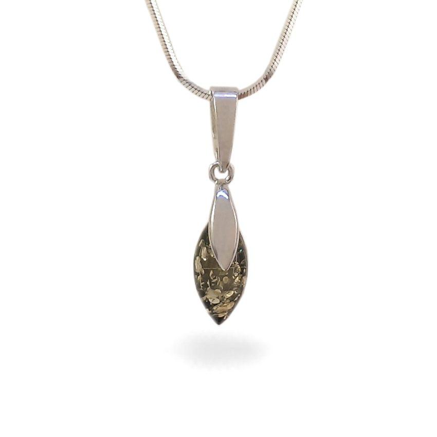 Wisiorek z bursztynem zielonym | srebro 925 | Wysokość - 25mm, Szerokość - 6mm | Waga - 1,1g | ZD.1099G