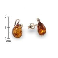 Kolczyki z bursztynem | srebro 925 | Wysokość - 18mm, Szerokość - 7mm | Waga - 1,5g | ZD.1113S