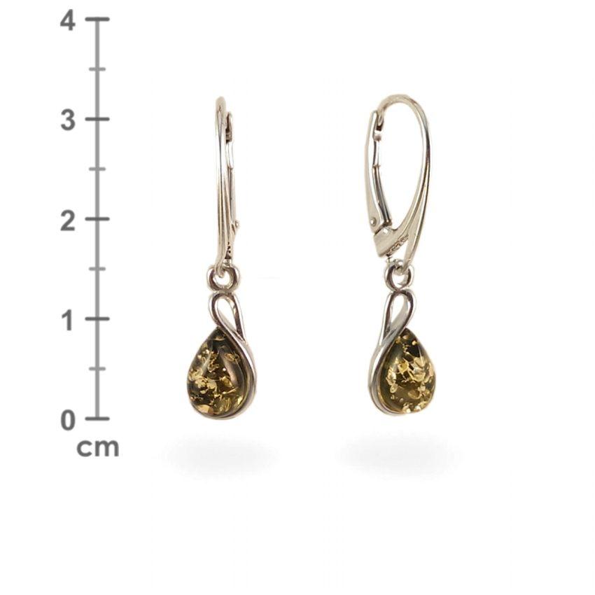 Kolczyki z bursztynem zielonym | srebro 925 | Wysokość - 31mm, Szerokość - 7mm | Waga - 2,4g | ZD.1113G