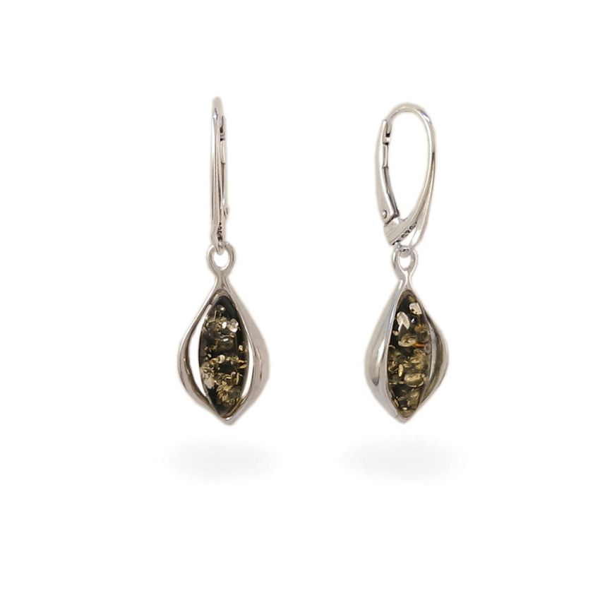 Kolczyki z bursztynem zielonym | srebro 925 | Wysokość - 37mm, Szerokość - 11mm | Waga - 4g | ZD.1116G