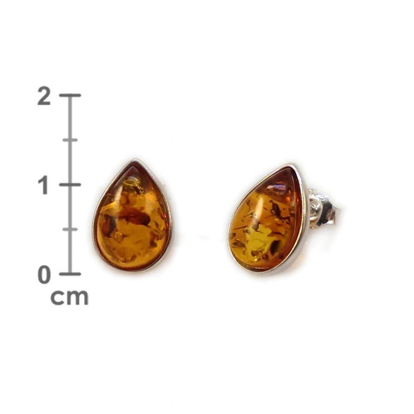 Kolczyki z bursztynem | srebro 925 | Wysokość - 13mm, Szerokość - 9mm | Waga - 1,8g | ZD.683