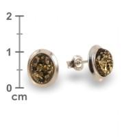 Kolczyki z bursztynem zielonym | srebro 925 | Wysokość - 11mm, Szerokość - 9mm | Waga - 1,8g | ZD.770G