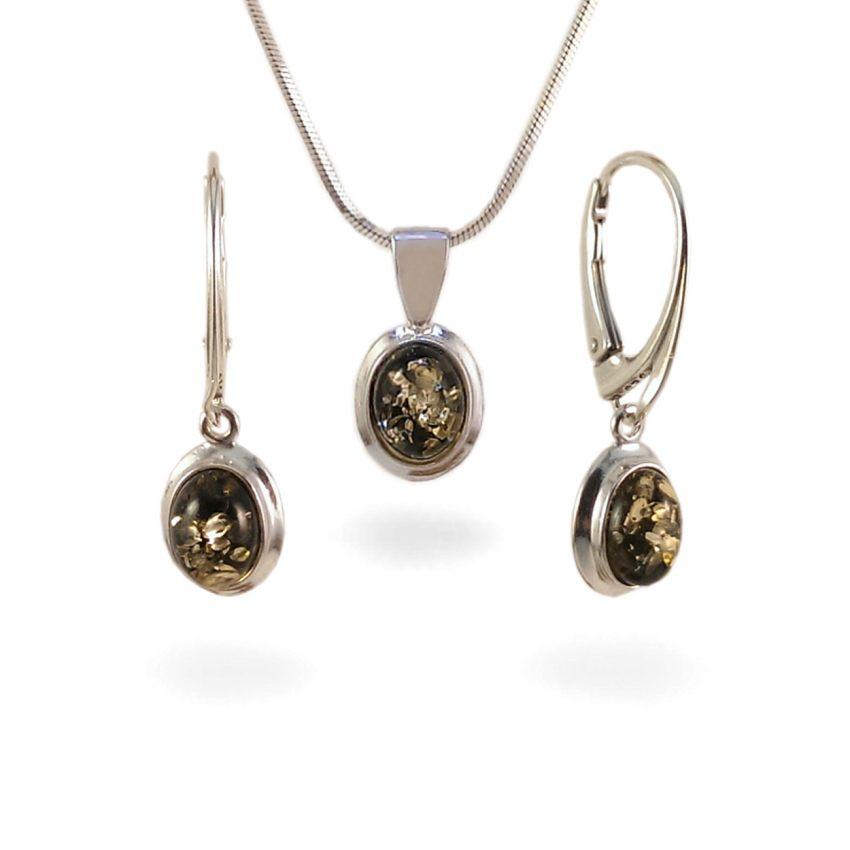 Srebrne Kolczyki z bursztynem zielonym | srebro 925 | Wysokość - 29mm, Szerokość - 9mm | Waga - 2.5g | ZD.321G