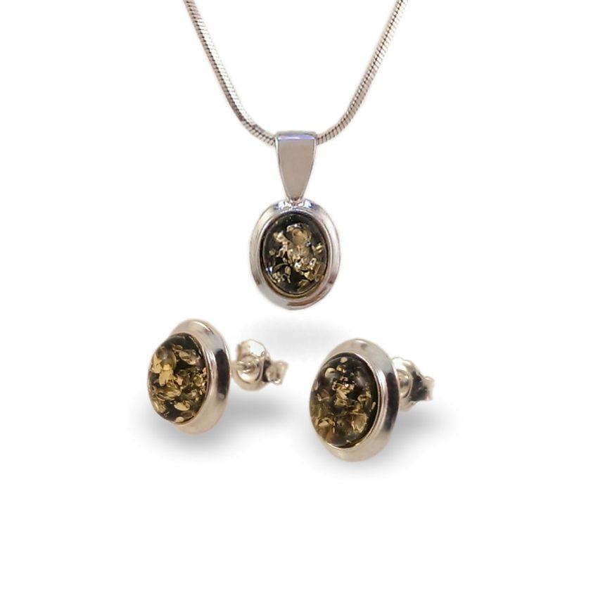 Srebrne Kolczyki na sztyft z bursztynem zielonym | srebro 925 | Wysokość - 11mm, Szerokość - 9mm | Waga - 1,8g | ZD.770G
