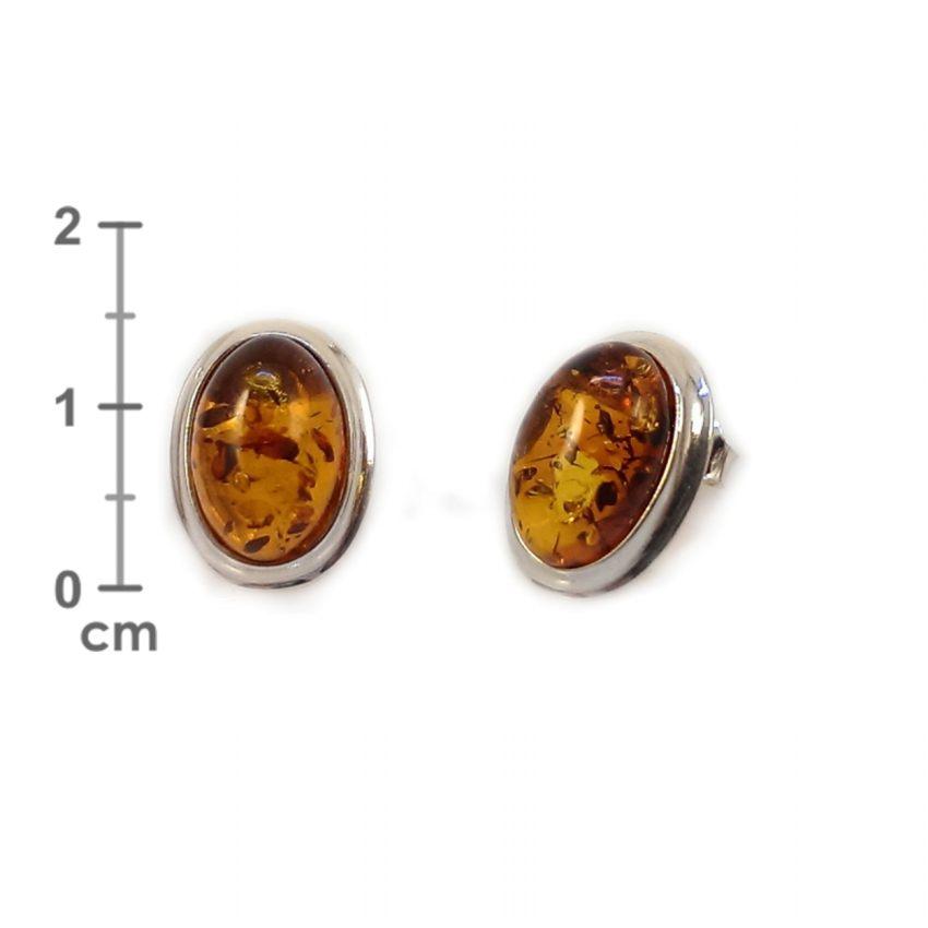 Kolczyki z bursztynem | srebro 925 | Wysokość - 15mm, Szerokość - 11mm | Waga - 2,7g | ZD.829