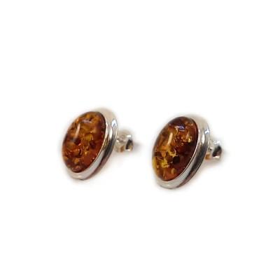 Srebrne Kolczyki na sztyft z bursztynem | srebro 925 | Wysokość - 15mm, Szerokość - 11mm | Waga - 2,7g | ZD.829