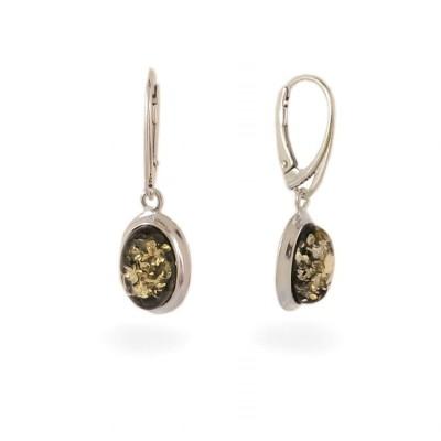 Kolczyki z bursztynem zielonym | srebro 925 | Wysokość - 33mm, Szerokość - 11mm | Waga - 3,5g | ZD.829G