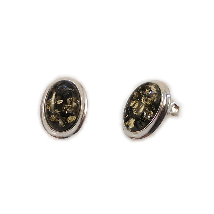Kolczyki z bursztynem zielonym | srebro 925 | Wysokość - 15mm, Szerokość - 11mm | Waga - 2,7g | ZD.829G