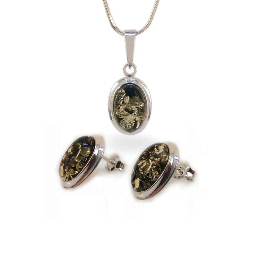 Srebrne Kolczyki na sztyft z bursztynem zielonym | srebro 925 | Wysokość - 15mm, Szerokość - 11mm | Waga - 2,7g | ZD.829G