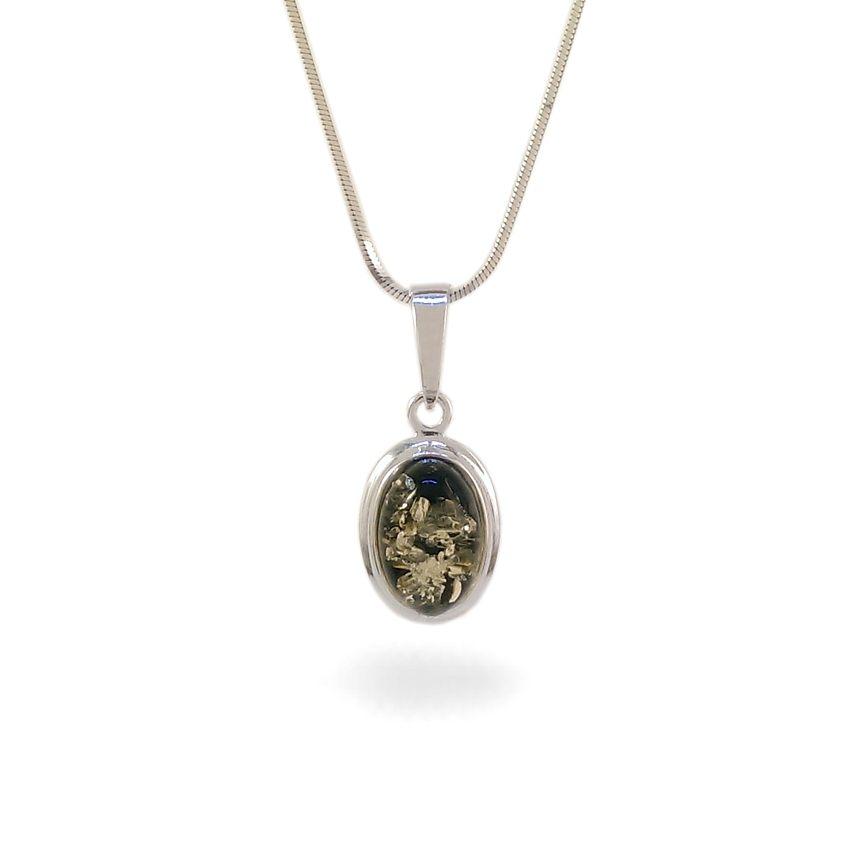 Wisiorek z bursztynem zielonym | srebro 925 | Wysokość - 25mm, Szerokość - 11mm | Waga - 1,5g | ZD.829G