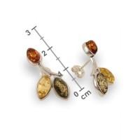Kolczyki z bursztynem zielonym | srebro 925 | Wysokość - 24mm, Szerokość - 12mm | Waga - 3,1g | ZD.839S