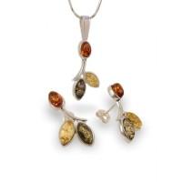 Liść srebrne kolczyki z bursztynem | srebro 925 | Wysokość - 24mm, Szerokość - 12mm | Waga - 3,1g | ZD.839S