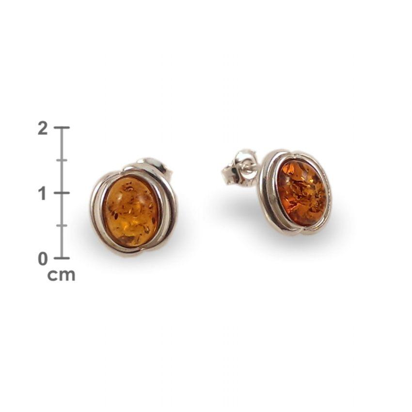 Kolczyki z bursztynem | srebro 925 | Wysokość - 14mm, Szerokość - 10mm | Waga - 2,1g | ZD.995