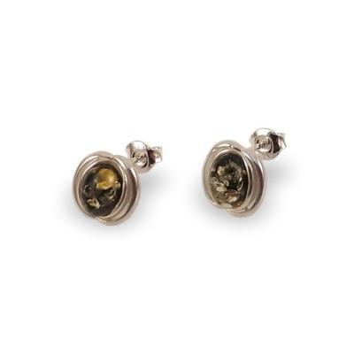Kolczyki z bursztynem zielonym | srebro 925 | Wysokość - 14mm, Szerokość - 10mm | Waga - 2,1g | ZD.995G