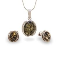 Srebrne Kolczyki na sztyft z bursztynem zielonym | srebro 925 | Wysokość - 14mm, Szerokość - 10mm | Waga - 2,1g | ZD.995G