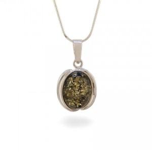 Wisiorek z bursztynem zielonym | srebro 925 | Wysokość - 29mm, Szerokość - 17mm | Waga - 3,1g | ZD.997G