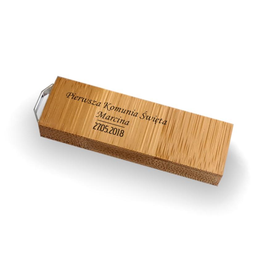 Pendrive z grawerem Pamiątka Pierwszej Komunii Świętej | Bamboo 128GB USB 3.0