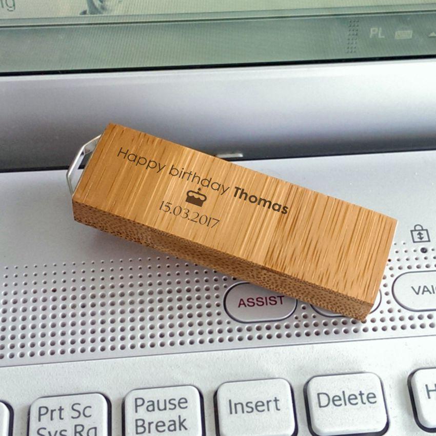 ECO pendrive z grawerem | Bamboo 64GB USB 3.0 | posrebrzana zawieszka