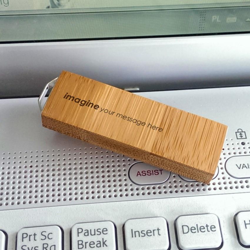 ECO pendrive z grawerem | Bamboo 128GB USB 3.0 | posrebrzana zawieszka