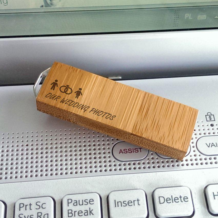 ECO pendrive z grawerem | Bamboo 32GB USB 3.0 | posrebrzana zawieszka