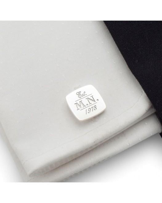 Spinki do mankietów z inicjałami | z Twoimi lub urodzinowymi inicjałami | srebro 925 | ZD.39