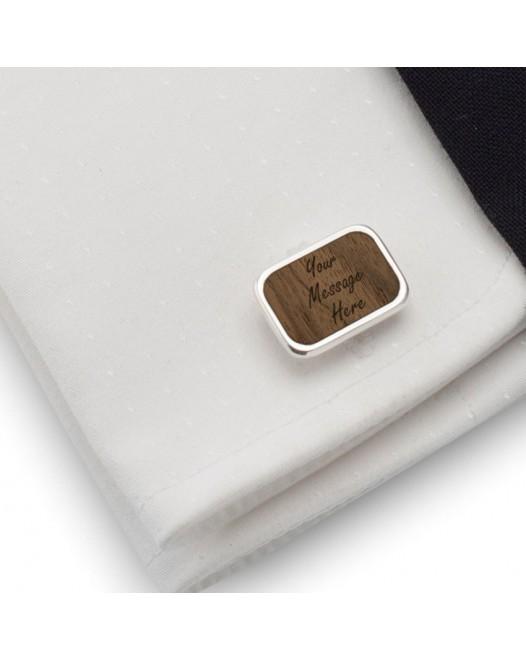Spinki do mankietów z grawerem | Z Twoją grawerowaną dedykacją | srebro 925 | Orzech Amerykański | Dostępne w 10 czcionkach | ZD.64