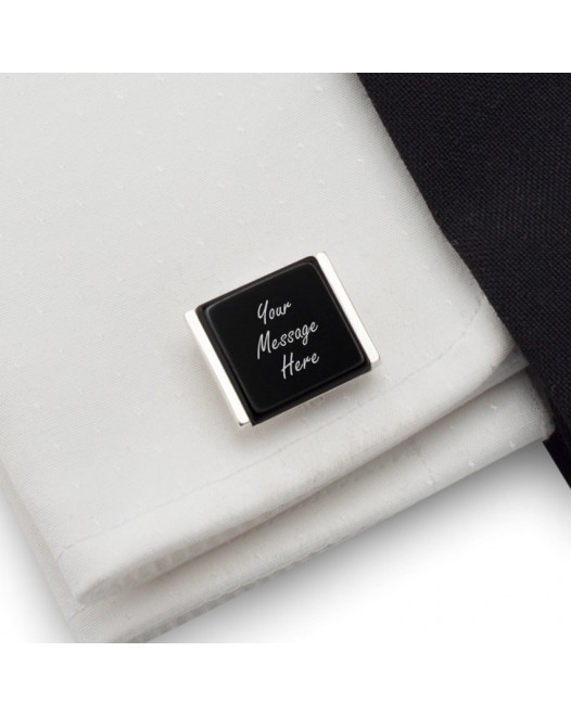Personalised cufflinks | With Your dedication on Onyx stone | Sterling sillver | Available in 10 fonts | ZD.80