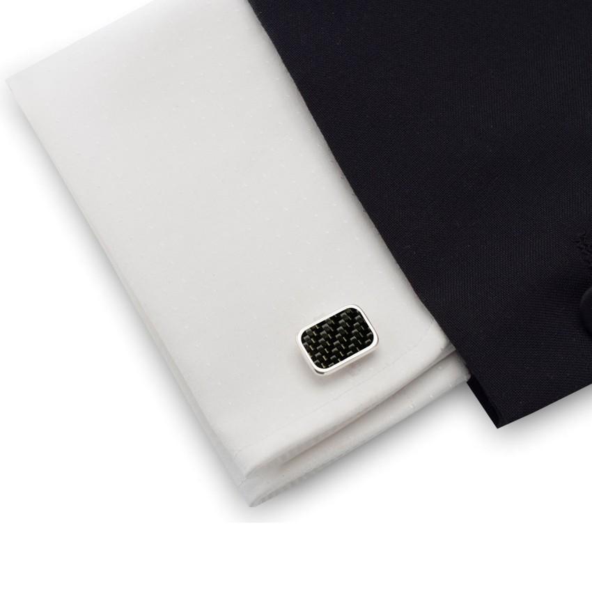 Spinki do mankietów z włóknem węglowym ( Karbonem )  | srebro 925 | ZD.44