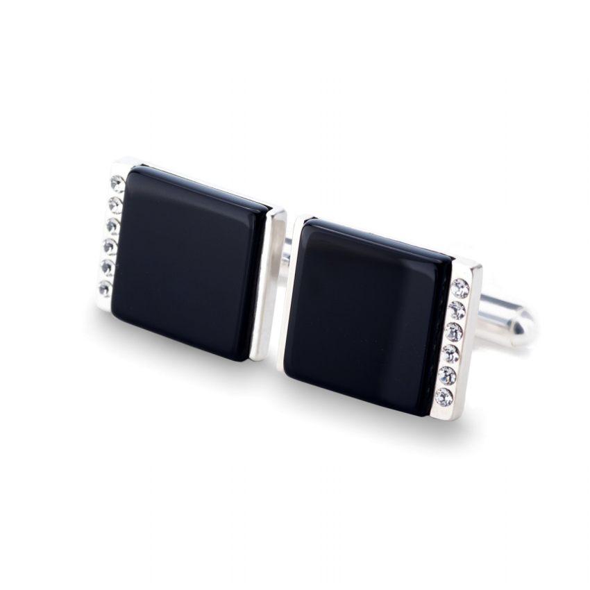 Spinki do mankietów z onyksem | srebro 925 | kryształy Swarovskiego | ZD.38