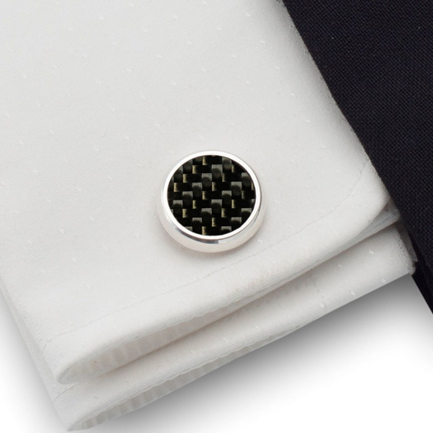 Spinki do mankietów z włóknem węglowym ( Karbonem )  | srebro 925 | ZD.43