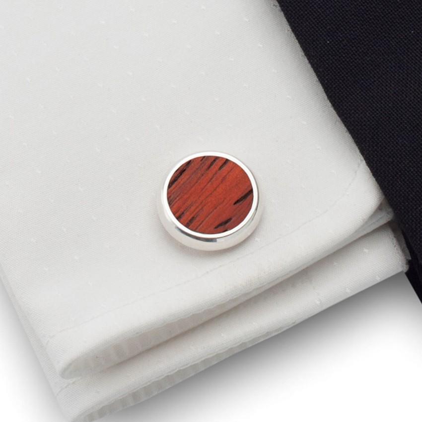 Spinki do mankietów z drewnem Mahoń | Srebro 925 | ZD.10