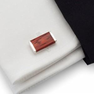 Spinki do mankietów z drewnem Mahoń | Srebro 925 | ZD.11
