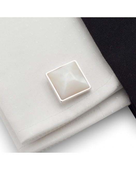 Perłowe spinki do mankietów | srebro 925 | Muszla perłowa | ZD.28